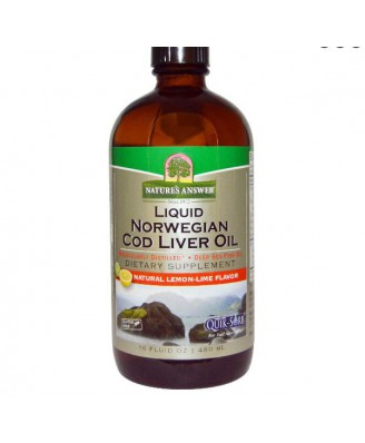 Noorse Vloeibare Levertraan Olie (480 ml) - Nature's Answer
